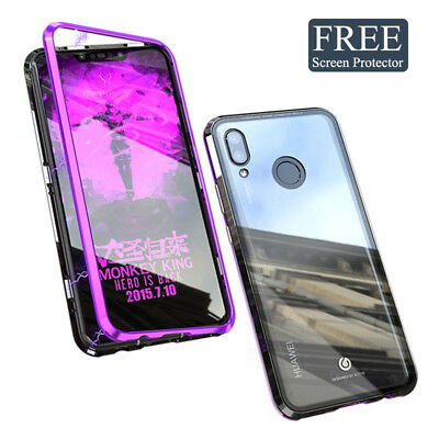 Magnetic Armor Case For Huawei Nova 3 3i P20 Pro Metal Bumper Clear Glass Cover