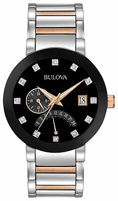 Bulova Men's Dual Time Diamond Accent Stainless Steel Bracelet Watch 98D129