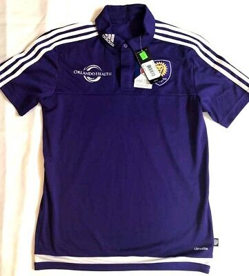 Purple adidas MLS Men/'s Orlando City SC Climalite 3-Stripe Coaches Polo
