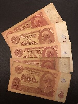 RUSSIA (Soviet Union) 10 Rubles, 1961, P-233, *Poor Condition* X 1 Note