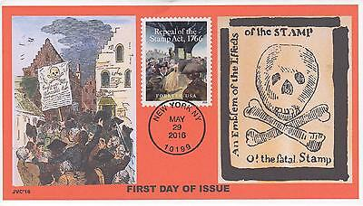Jvc Cachets - 2016 Repeal Of The Stamp Act 1766 Issue Fdc First Day Cover #3