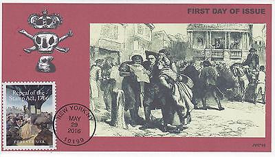 Jvc Cachets - 2016 Repeal Of The Stamp Act 1766 Issue Fdc First Day Cover #1