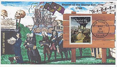Jvc Cachets - 2016 Repeal Of The Stamp Act 1766 Issue Fdc First Day Cover #2