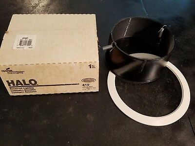 """NEW IN BOX HALO 410P, 6"""" Recessed Lighting White Trim With Black Baffle"""