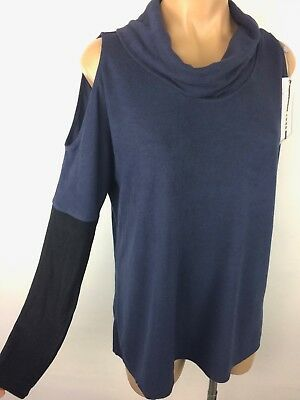 96b602f16e8 DKNY Sport Oversized Cowl Neck Knit Top Tunic Cold Shoulder NAVY BLACK Small