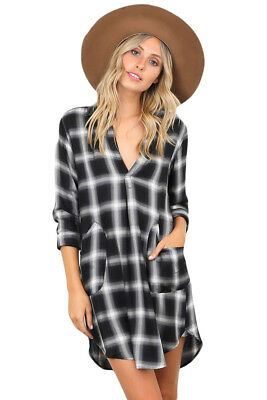 bcd31b078 US Womens Red Black Plaid Pocket Style V Neck Casual Party Shirt Dress  pockets
