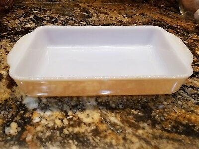 Beautiful Unused Vintage Fire King Peach Luster #410 Casserole Dish 1 1/2 qt