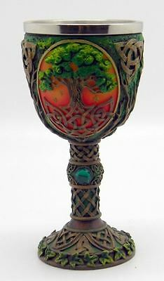 """Tree of Life Chalice Cold Cast Resin 7.25"""" high by 3.5"""" wide"""