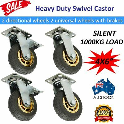 "4PCS 6"" 150mm 1000KG Load Heavy Duty Swivel Caster Wheels Castor Silent & Brakes"