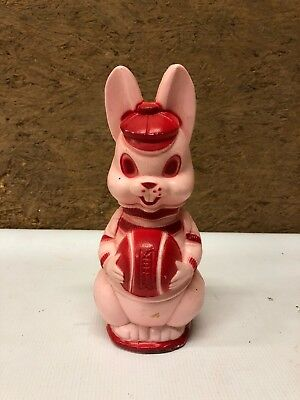 Vintage 1950s Plastic Bank Pink Bunny With Basketball Blowmold 8.5""