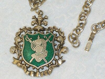 Vintage MEDIEVAL NECKLACE Coat of Arms Green ENAMEL Pendant Knight ARMOR Sword