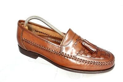 536ce7b5483 Bass Bellagio Mens Size 10.5M Brown Leather Woven Tassel Moc Toe Loafers  Shoes