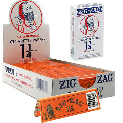 AUTHENTIC Zig Zag Orange Cigarette Rolling Paper 1.25 1/14 Gummed 24 Booklets