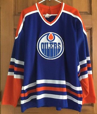 huge selection of 470a4 933b4 CCM EDMONTON OILERS Size X-Large Vintage NHL Blue Hockey Jersey Free  Shipping