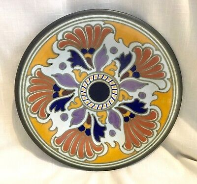 Vintage Art Deco Hand Painted Gouda Delft Hand Decorated Shallow Bowl/Charger