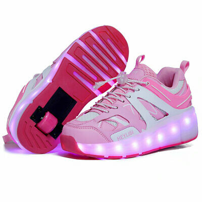 LED Light Shoes with Wheels Roller Skate Shoes Kids Child Sports Sneakers Pink