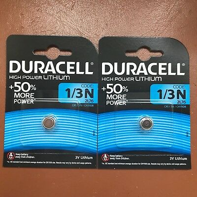 2 X Duracell 1/3N 3V Batterie Lithium DL1/3 N CR1/3N CR1-3N 2L76 Longest