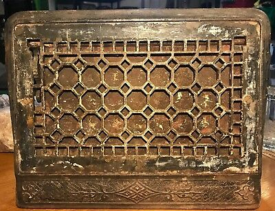 Antique Cast Iron Wall Register-Vintage-Vent-Heating Grate-Wall Grate-Ornate