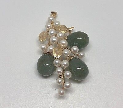 Vintage Ming's Hawaii Green Jade White Pearl 14K Gold Pin Brooch Jewelry Mings