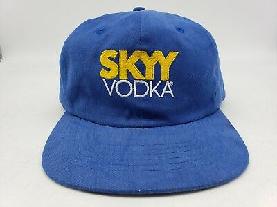 Vtg Denim Skyy Vodka Liquor Taiwan Blue Color Snapback Dad Bar Hat Cap