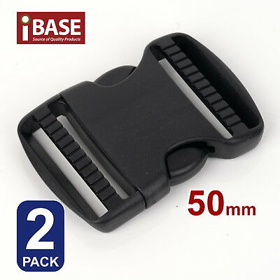 2x Quick Release Buckle Clip Side Cord Strap Fastener Belt Dual Adjustable 50mm