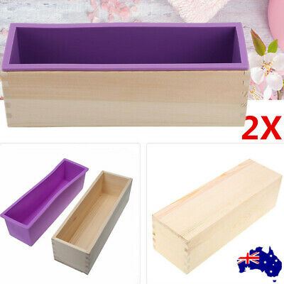 2X Wood Loaf Soap Mould with Silicone Mold Candle Handmade Soap Making
