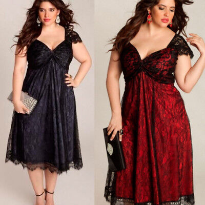 UK Plus Size Womens V Neck Lace Cocktail Ladies Prom Evening Party Swing Dress