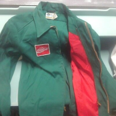Vintage Coca Cola Jacket Green 1960's Coke Delivery Driver Size 36 Long Coat