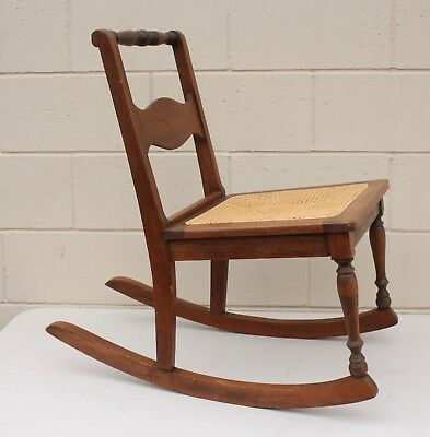 Pleasing Vintage Small Handkerchief Wooden Rocking Chair With Cane Ncnpc Chair Design For Home Ncnpcorg
