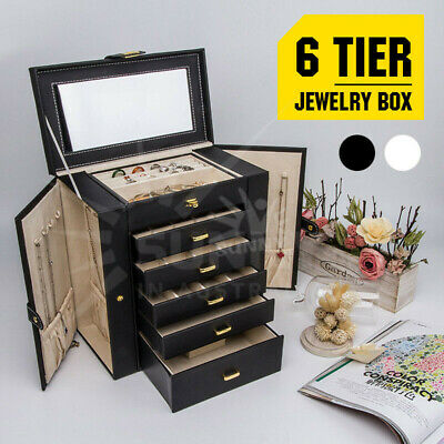 Mirror Extra Large Jewellery Box PU Leather Necklaces Earing Storage Cases