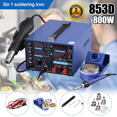 3in1 853D Soldering Iron Station SMD Rework Desolder USB 2A Hot Air Gun DC Power