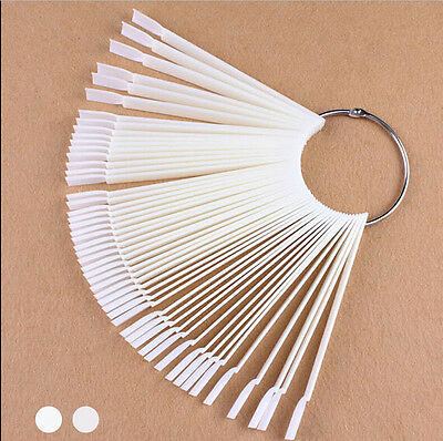 50 Display Nail Art Key Ring Wheel Fan Polish Practice Color Pop Tip Sticks N Cp