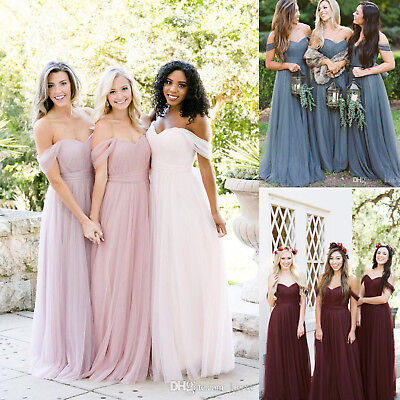 Bohemian Off Shoulder Beach Wedding Bridesmaid Dresses Tulle Evening Party Gowns