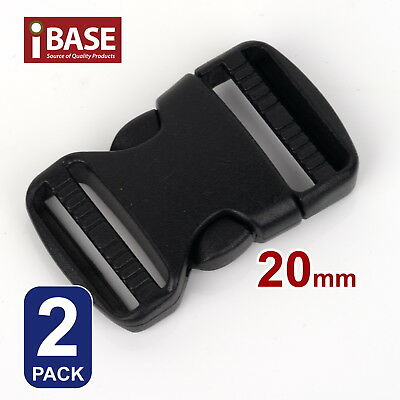 2x Quick Release Buckle Clip Side Cord Strap Fastener Belt Dual Adjustable 20mm