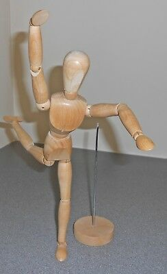 """Wooden Artist's Mannequin 12"""" Adjustable Pose-able Figure Model Removable Stand"""