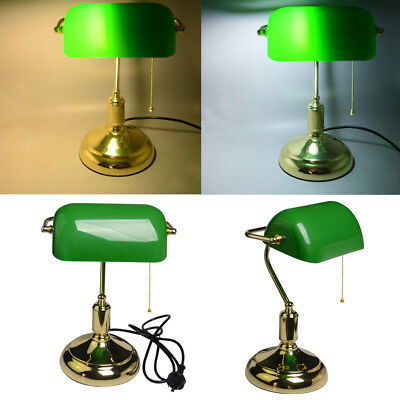 LED Vintage Bankers Lamp Retro Antique Brass Green Desk Table Study Globe Light