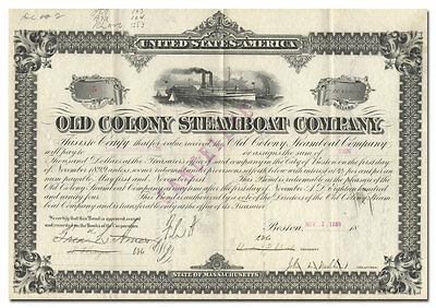 Old Colony Steamboat Company Bond Certificate Signed by Frederick L. Ames