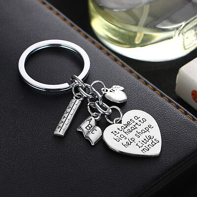 'It Takes A Big Heart To Help Shape Little Minds' ABC Book Charm Keyrings Gift