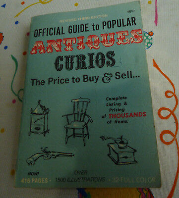 1971 Official Price Guide To Popular ANTIQUES Curios 3rd Ed.