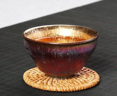 Multicolour Porcelain taiwan kiln gilt gold oil spot tenmoku teacup JianzHan