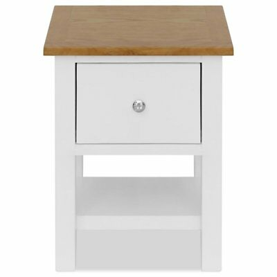 VidaXL White and Solid Oak Nightstand 1 Drawer and Shelf Bedside