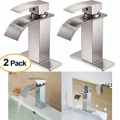 2 X Brushed Wire Single Lever Bathroom Sink Faucet Vanity Lavatory Tap Plate V