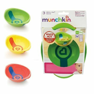 Munchkin Baby Feeding Dishes Food Bowls Weaning White Hot 2Pk 6m+