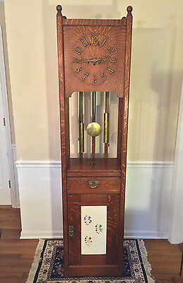 Antique Mission Arts/Crafts Grandfather Clock Junghans B13 Movement Stickley?