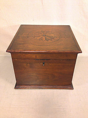 Antique Wooden Case Box with Inlaid Starburst or Compass Design Walnut Mahog?