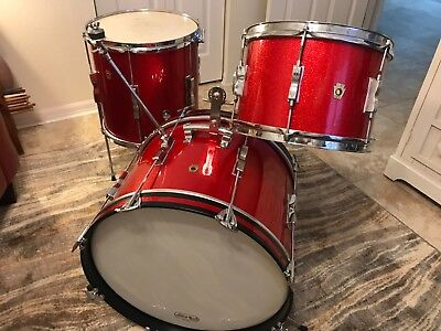 Ludwig 60 S Club Date 3pc Vintage Drum Set Beautiful Red Sparkle