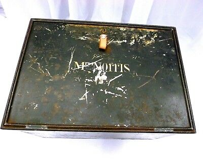 Vintage Deed Box Table with Hairpin Legs