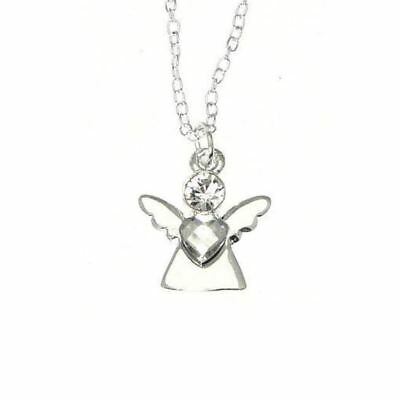 Silver Tone Guardian Angel Pendant Necklace with Crystal Effect Heart Pendant
