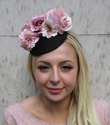 Black Blush Nude Dusky Pink Rose Flower Feather Hat Fascinator Races Floral 6423