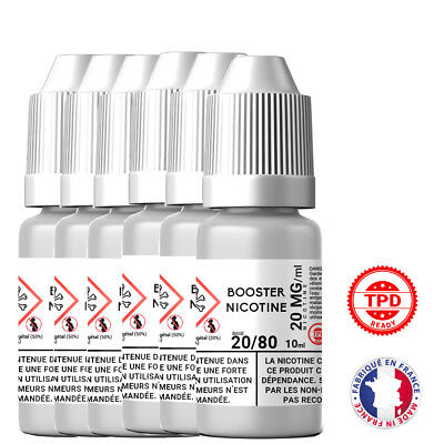 Pack Booster Nicotine 20 mg 10 ml 20/80 - 20% PG / 80% VG DIY Lot de 6 Bouteille